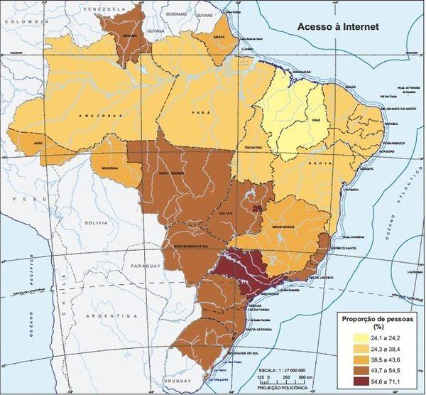 Mapa do acesso à internet no país destaca Distrito Federal e São Paulo