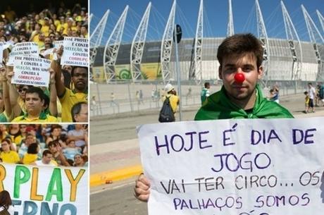 Protestos em frente aos estádios mobilizam o País (montagem R7)