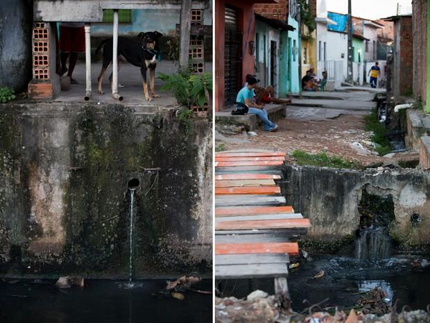 Esgoto das casas são dispensados sem tratamento (à esq.); à direita, população convive com mau cheiro(Foto: Jonathan Lins/G1)