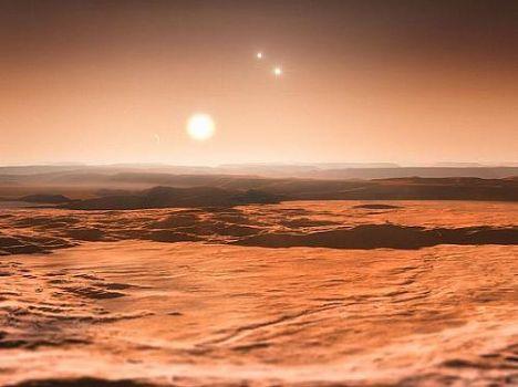 Impressão artística mostra uma vista do exoplaneta Gliese 667Cd em direção à sua estrela progenitora