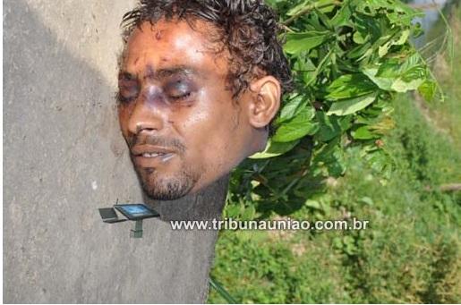 A cabeça teria sido lavada; policia procura corpo