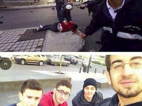 Mohammad al-Chaar (com a blusa vermelha) morreu momentos depois após tirar foto em grupo em explosão de carro-bomba em Beirute, no Líbano