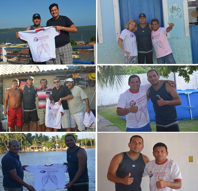 Alguns dos colaboradores MN recebendo suas camisas.