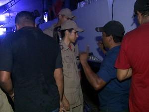 Corpo de Bombeiros esteve no local e camarote continuou funcionando. (Foto: Reprodução/TV Gazeta)
