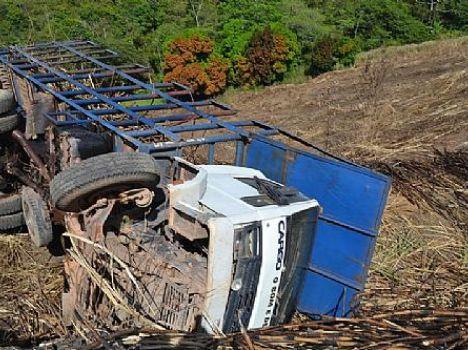 Caminhão tombou dentro do canavial, motorista teve ferimentos leves
