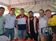Da esquerda para a direita temos: Neto, vereadores Jorge Mello, Marcelo Moringa, Del Cavacante, Senador Renan Calheiros e o prefeito Cristiano Matheus.