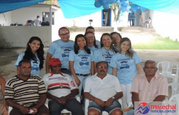 Homens da comunidade compareceram e participaram da ação de saúde.